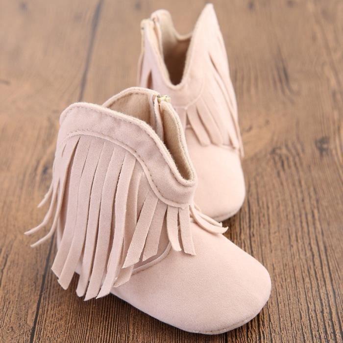 Nouveau-né Bébé Fille Garçon Bottes Prewalker Chaussures Hiver Infantile Bébé Chaussures à semelle souple frangées marche