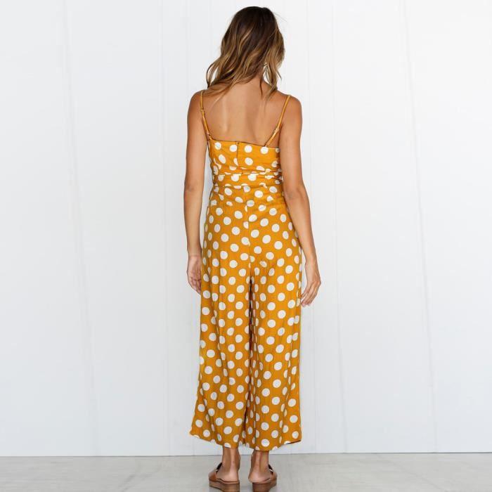 Strappy Point Plage Vacances Casual Combishort Pantalon Femmes De jaune Jumpsuit Vague twxqpdtHAR