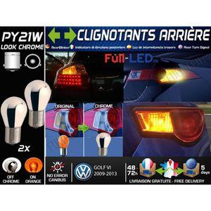 PHARES - OPTIQUES Pack 2 Ampoules PY21W Chromé - Clignotants Arrière
