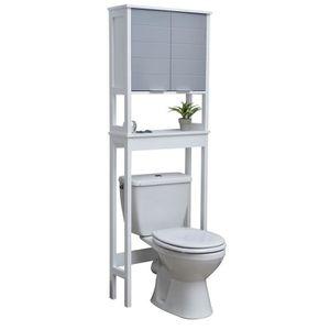 ARMOIRE DE TOILETTE Meuble dessus toilettes WC - 1 rangement et 1 tabl