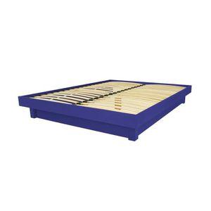 STRUCTURE DE LIT Lit plateforme bois massif pas cher (Bleu foncé -