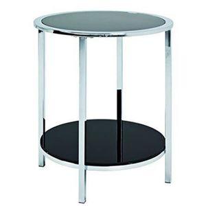 TABLE D'APPOINT Table d'appoint ronde en acier et verre trempé - D