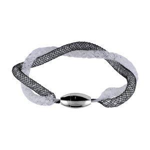 Bracelet acier tube noir et blanc 18cm