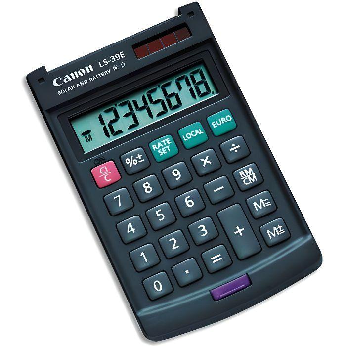 CANON Calculatrice de poche LS-39E - 8 chiffres - Panneau solaire, pile - Gris foncé