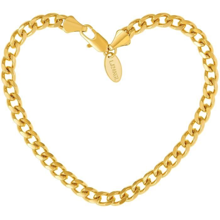Womens Cuban Link Bracelet 5mm, Round, 24k Gold Over Bronze, Premium Style, Guaranteed For Life, 7 WG6BL
