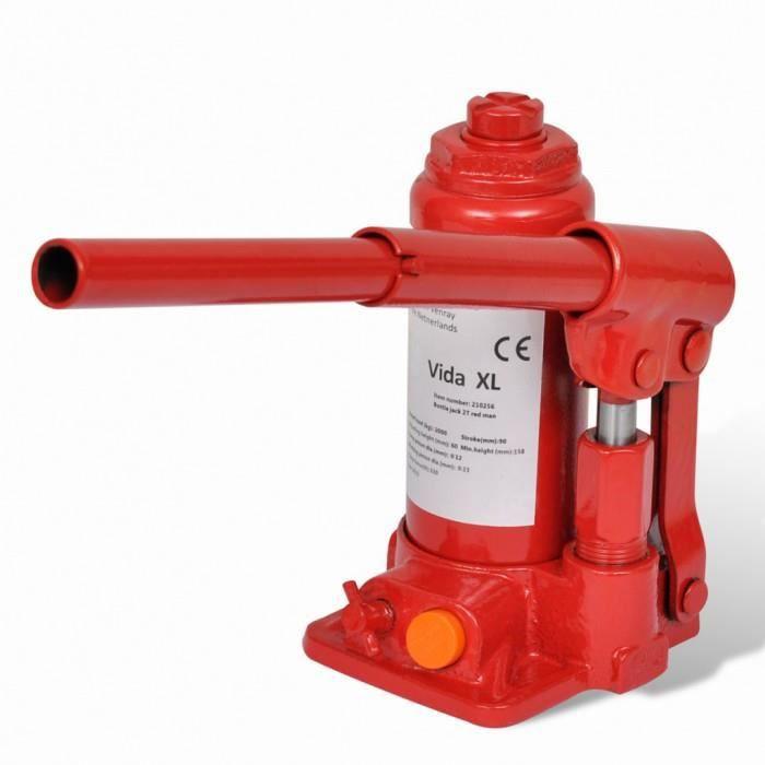 Monte-charges Cric bouteille hydraulique 2 tonnes Rouge