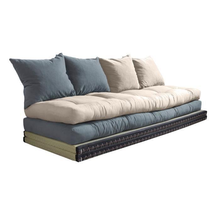 canap convertible futon modulable avec coussins chico gris beige - Canape Lit Futon