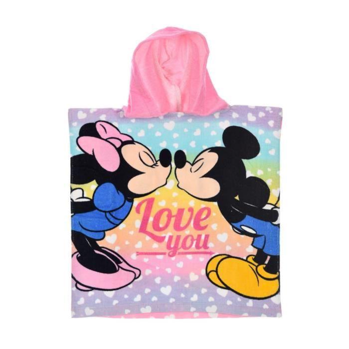 Cape De Bain Enfant Fille Minnie Et Mickey Rose Violet Tu 2 6ans