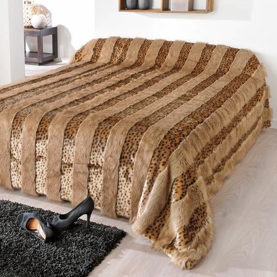 couvre lit 200 x 200 Couvre lit (150 x 200 cm) imitation fourrure Lynx   Couleur  couvre lit 200 x 200