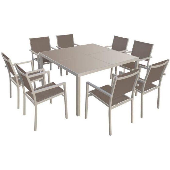 Salon de jardin CAGLIARI en textilène taupe 8 places - aluminium ...