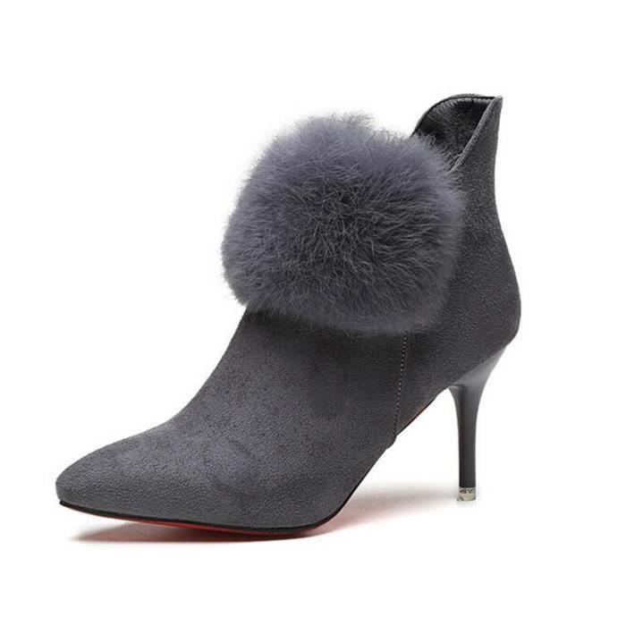Chaussures à talon l'automne et l'hiver villosités femelle suède r3s7AW7YGo