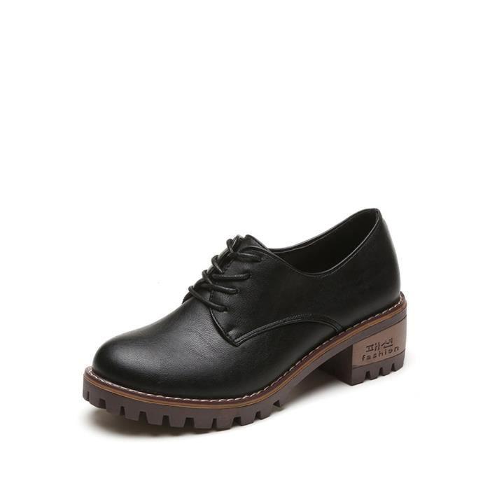 Mocassins Les femmescouleur unie lacées à talon carré Chaussures élégant 8244926