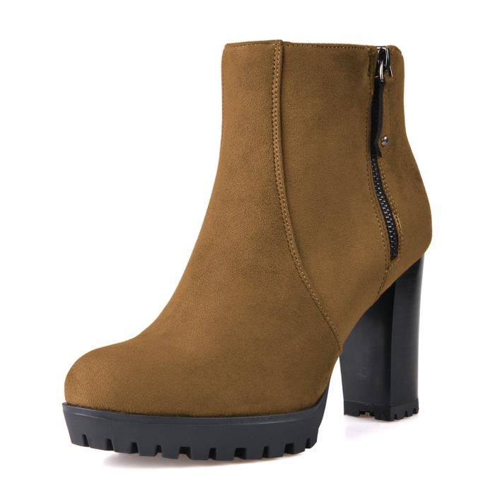 Stacked Chunky Heel Ankle Boots With Platform Round Toe Comfortable Winter Shoes P2IV8 Taille-40