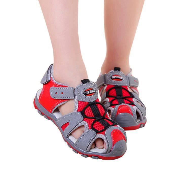 856bf90d5 Chaussures enfant Enfants bébé garçon fille bout fermé Summer Beach  Sandales Sneakers rouge