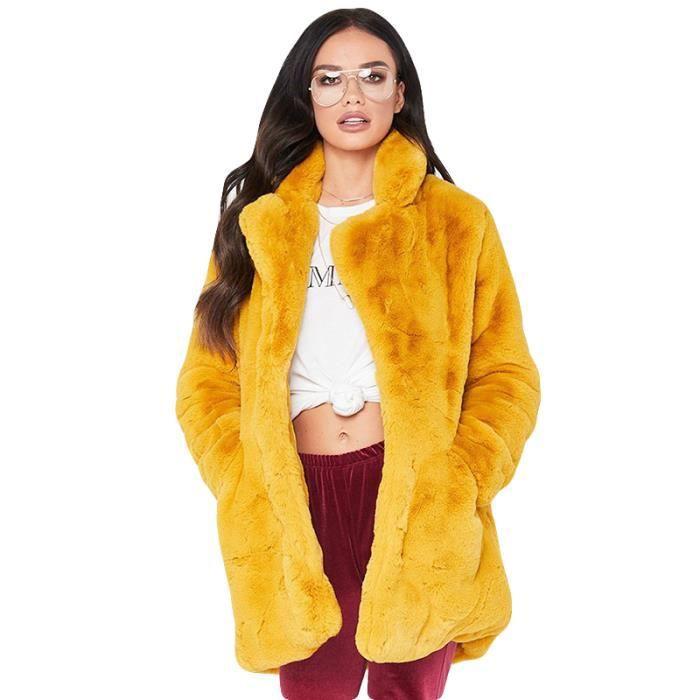 6aaf275d7715b Parka Femme Marque Luxe Manteau Pour Femme en fausse fourrure Doudoune Femmes  VêTement - Jaune