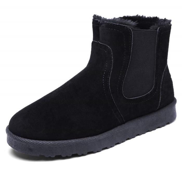 5a546b6e0c18 Botte Longue Femme Bottine Compensé Daim Hiver Cuir Fourrure 3 Cm Neige  Plate Winter Knee Boots Wedge Lacets Chaussures Warm Noir