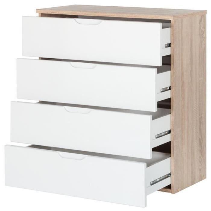 commode en bois avec 4 tiroirs ch ne bross et blanc brillant 73 x 35 3 x 79 2 cm achat. Black Bedroom Furniture Sets. Home Design Ideas