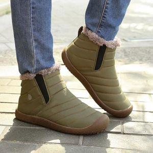 Bottines de neige d'hiver pour Hommes fourrure doublée chaussures occasionnels chaussures de travail en plein air @BU 9RKJaYZXjE