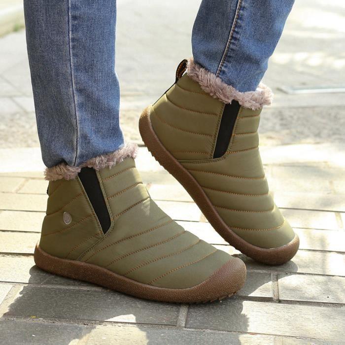 Bottines de neige d'hiver pour hommes fourrure doublée chaussures occasionnels chaussures de travail en plein air @GN vzK4Lj