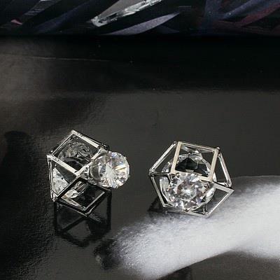 Bijoux mode 2018174 boucle doreille bijoux sertie de diamants double face de la modeargent