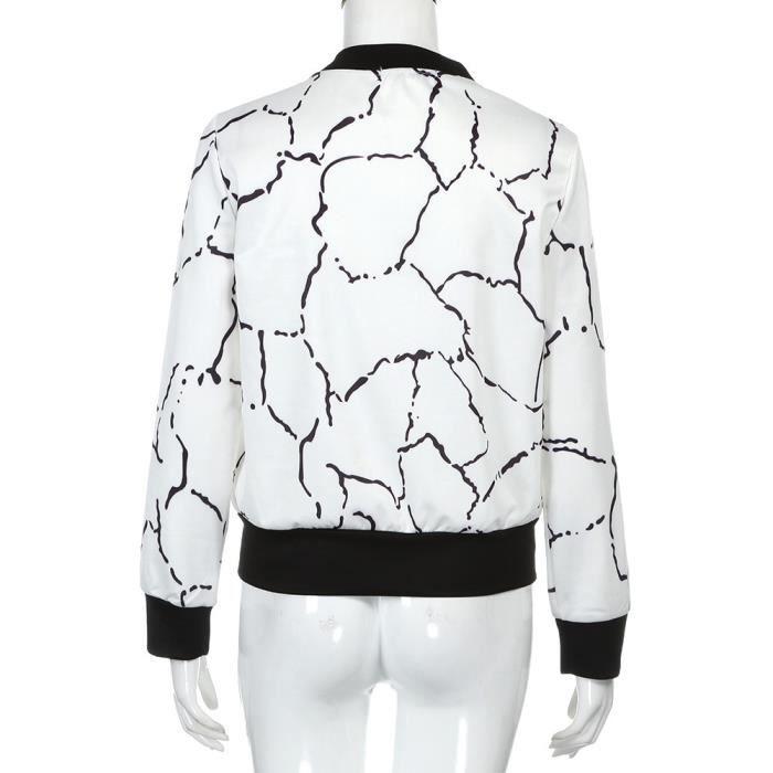 Veste Zipper Outwear Manches Femmes Longues De Blanc Cour Manteau Cardigan Motard Tops 4UqwZpqY
