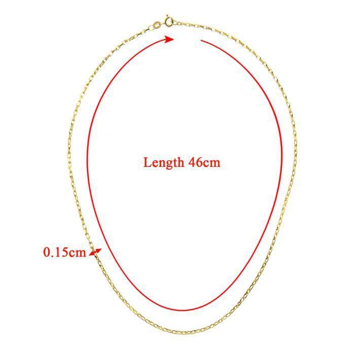 Revoni - Collier à mailles jaseron en or jaune 9 carats 3,6 g, longueur 46 cm et largeur 0,15 cm
