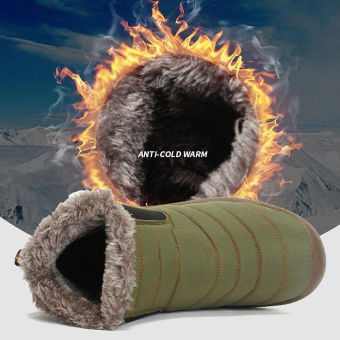 Bottines de neige d'hiver pour hommes fourrure doublée chaussures occasionnels chaussures de travail en plein air @GN