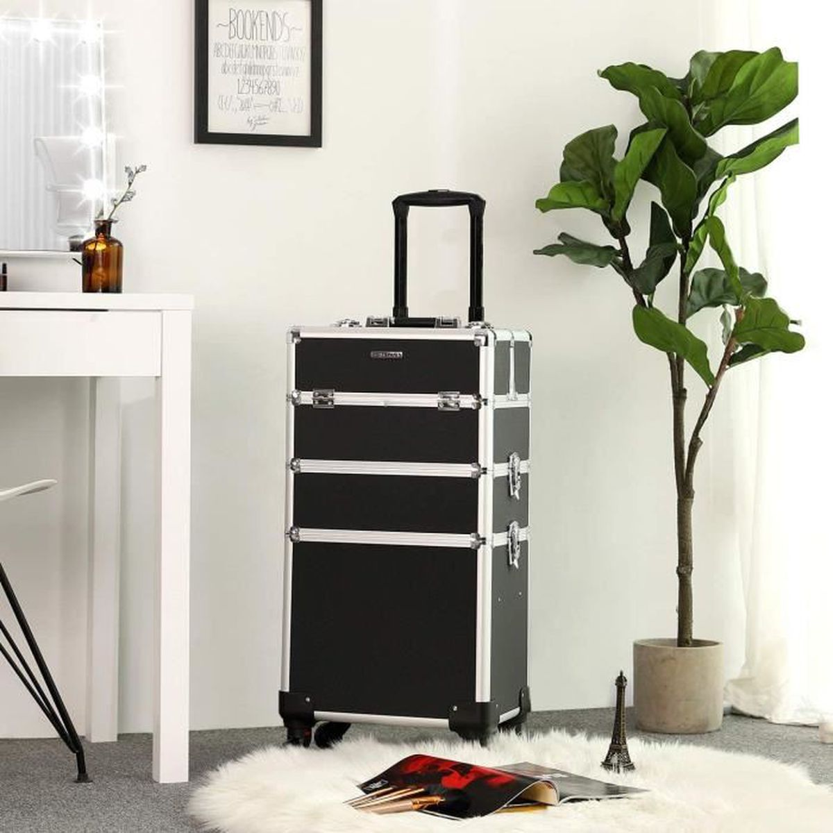 VALISE - BAGAGE SONGMICS Mallette Maquillage Trolley 4-in-1 Alumin