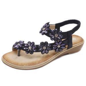 SANDALE - NU-PIEDS Sandales Plates Femmes Chaussures de Ville à Talon