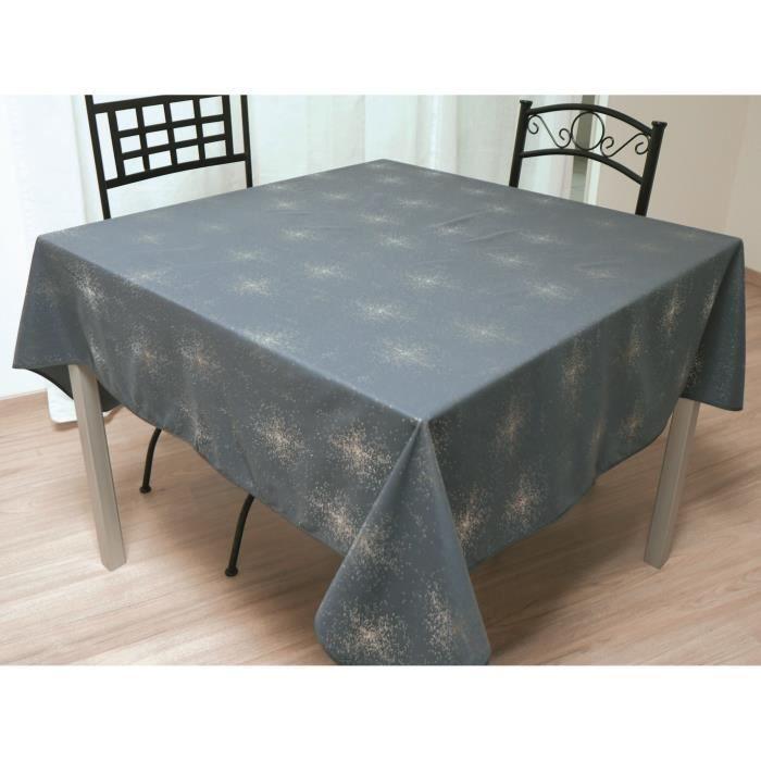 SOLEIL D'OCRE Nappe de table carrée Strass 180x180 cm gris