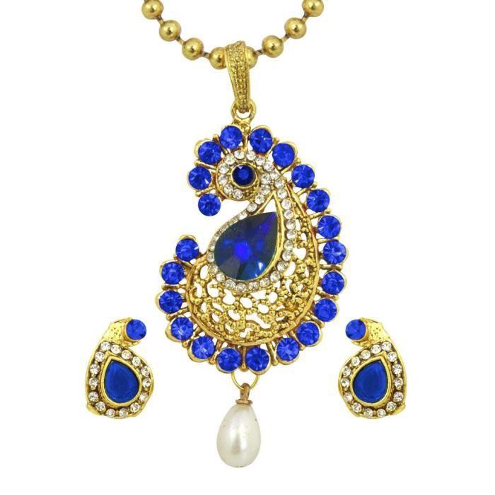 Cadeaux Diwali de la femme ont pendentif en forme de boucles doreilles pour et avec la chaîne (bleu) V47YB