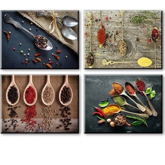 Mur Art épices Et Cuillère Toile Peinture Pour La Décoration De Cuisine Pas  De Cadre 4 Pièces