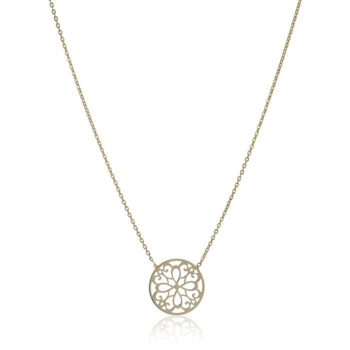 14k Yellow Gold Flower Disc Necklace, 17 GI42Y