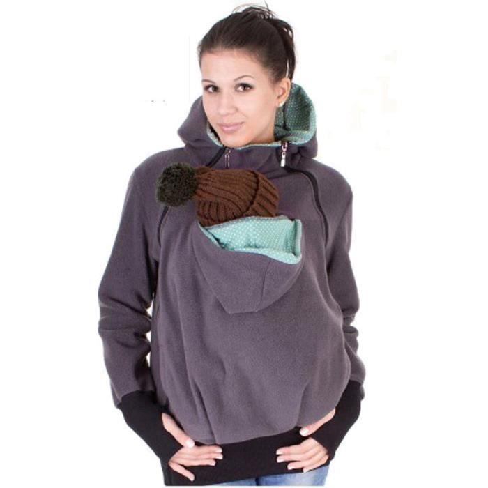 f5a4b9b9166 GRIS 3 en 1 Pull vêtement Veste avec capuche Zipper Porte-bébé Kangourou  pour Maman Hiver Automne Femme Homme Unisexe XXL