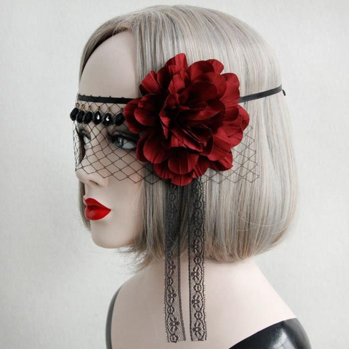 MASQUE - DÉCOR VISAGE Rouge fleur dentelle visage masque cheveux bandeau