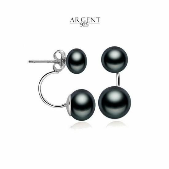 CO Boucles d'Oreille Design Double Perle de Tahiti Argent 925