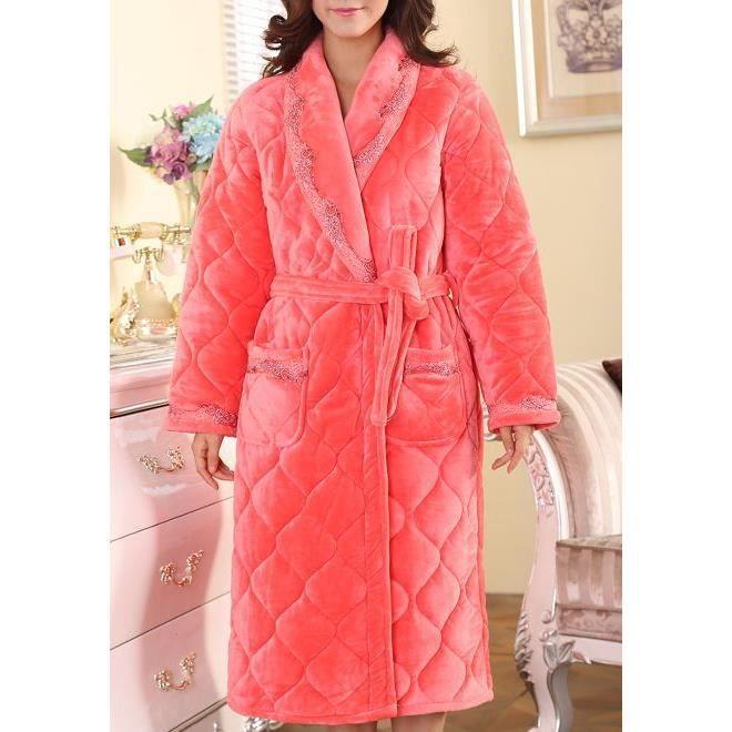 robe de chambre femme matelass e rose saumon fleurs achat vente robe de chambre soldes. Black Bedroom Furniture Sets. Home Design Ideas