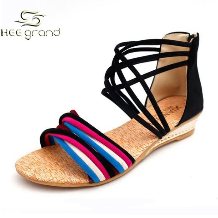 beige Zip Femme Sandale Pour Grand De Chaussures Hee Vacances Bohme Noir Plage A F7cXqFdw