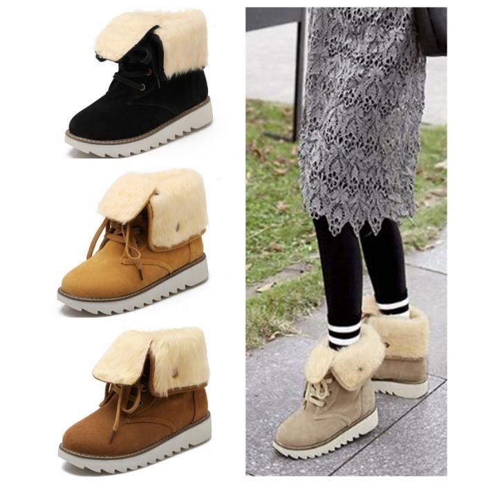Femme Hiver Chaudes Bottes De Neige Fourrées Cheville Matte En Daim Chaussures Snow Boot