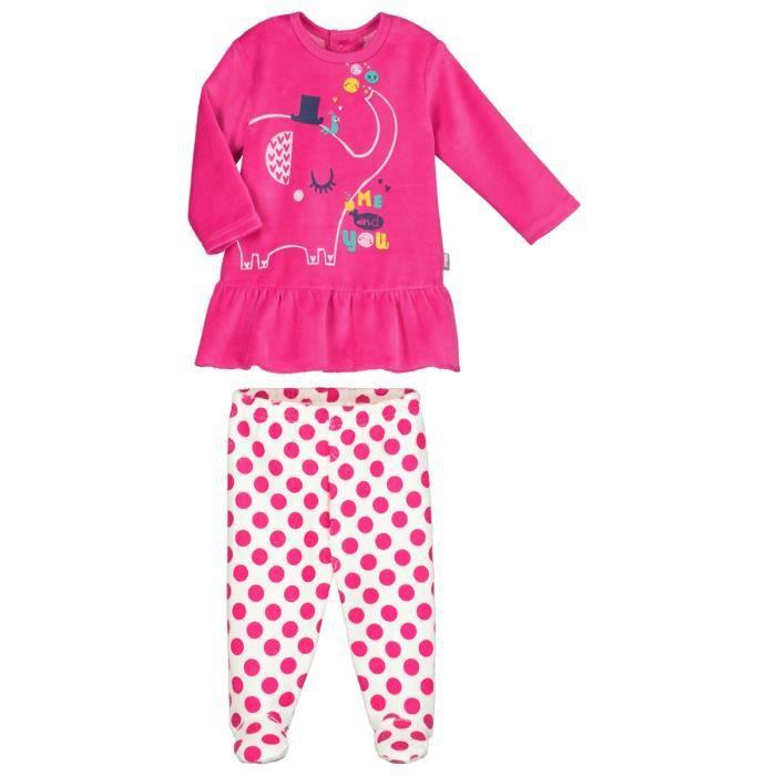 d3ba7467a97fd Pyjama bébé 2 pièces velours avec pieds Me and You - Taille - 12 ...