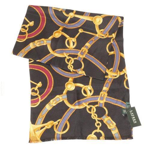 Echarpe Equestre Ralph Lauren 100% Soie Noir 4SL026 Noir Noir, motif ... c30d972ea2f