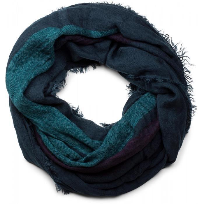 écharpe snood avec des rayures aux couleurs contrastées, en motifs chevrons  et avec frange, écharpe, toile, unisexe 01017024 7463cf210aa