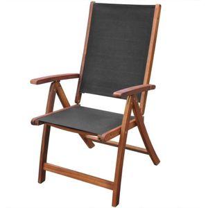 FAUTEUIL JARDIN Chaise Pliable 2 Pieces En Bois Dacacia