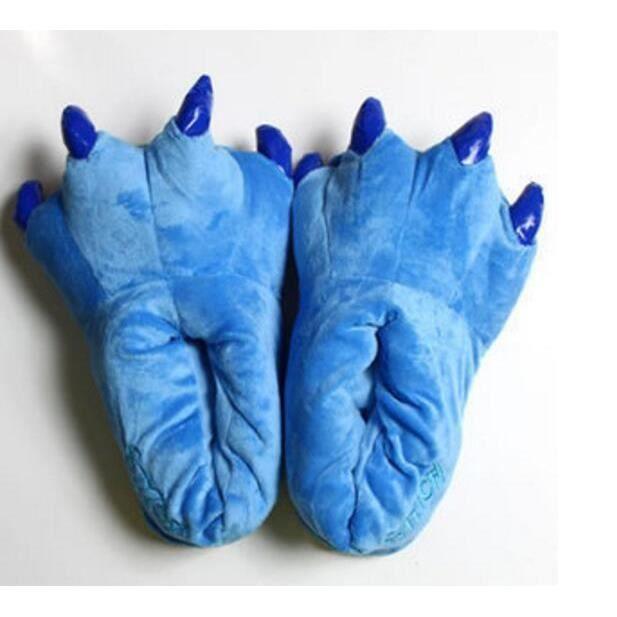 Doux flanelle mignon griffes de dinosaure dessin animé lilo stitch garde au chaud chaussures pantoufles en coton peluche