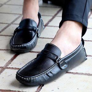 Mode Hommes Mocassins Noir - Blanc - Bleu Chaussures en cuir Man Casual Loisirs Hommes Flats,bleu,44,4863_4863
