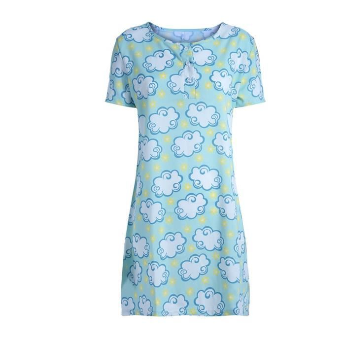 Nuit Chemise shirt Vert Sommeil Femmes T De Robe Manches Courtes wqB400