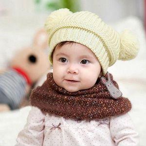 CHAPEAU - BOB mignon bébé fille garçon Duo Balls chaud Hiver Bon