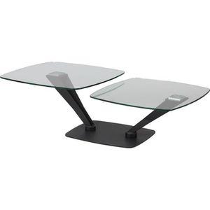 TABLE BASSE Table basse modulable acier plateau verre 75