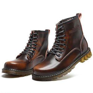 Boots homme Martin de bottines Haute-Top Antidérapant Chaussure Respirant  Tête ronde Plusieurs couleurs Taille 82030a07e970