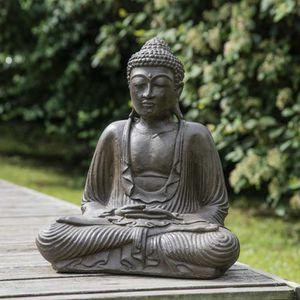 STATUE - STATUETTE Statue Bouddha assis position offrande brun 42 cm